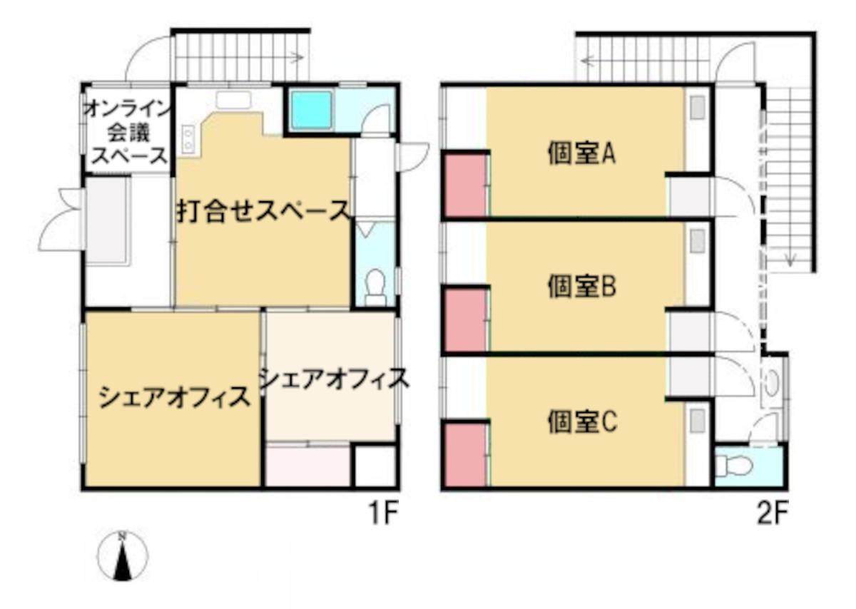 淡路駅のシェアオフィス・レンタルオフィス・コワーキングスペース淡路駅前ラボ図面