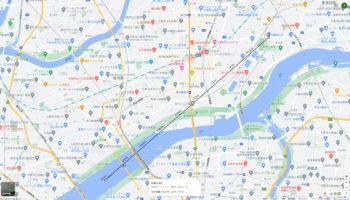 淡路駅の賃貸事務所「淡路駅前ラボ」と淀川花火大会打ち上げ場所の距離